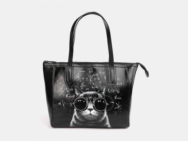 Модная черная сумка с росписью ATS-3712