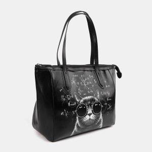 Модная черная сумка с росписью ATS-3712 211501