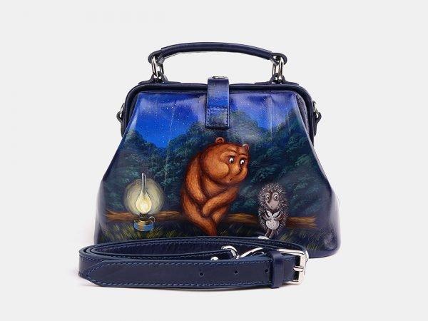 Удобная синяя сумка с росписью ATS-3740