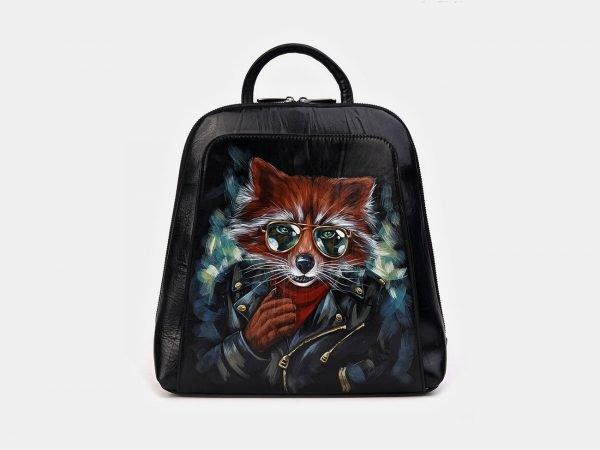 Модный черный рюкзак с росписью ATS-3336