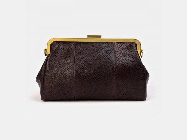 Кожаный коричневый женский клатч ATS-3479