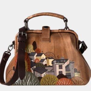 Стильная бежевая сумка с росписью ATS-1633