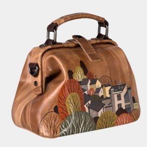 Стильная бежевая сумка с росписью ATS-1633 216593
