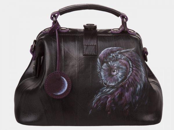 Вместительная черная сумка с росписью ATS-1200