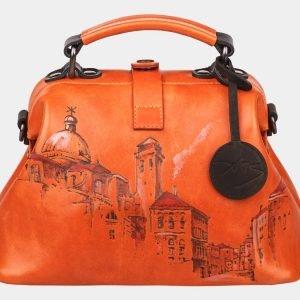 Стильная оранжевая сумка с росписью ATS-1236