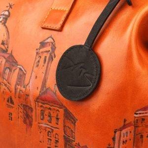 Вместительная оранжевая сумка с росписью ATS-1236 216953