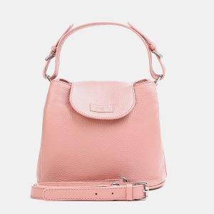 Кожаная розовая женская сумка ATS-3766