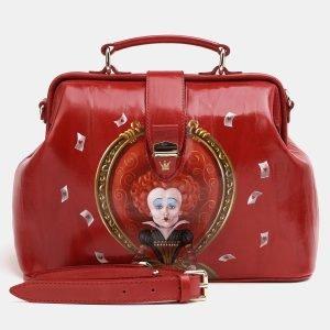 Вместительная красная сумка с росписью ATS-3829