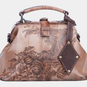 Деловая бежевая сумка с росписью ATS-1266