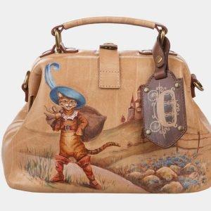 Удобная бежевая сумка с росписью ATS-1275