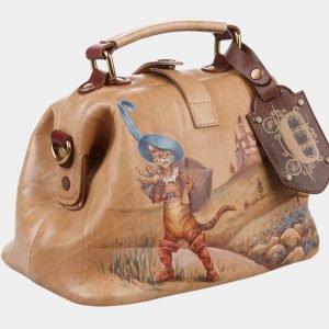 Удобная бежевая сумка с росписью ATS-1275 216880