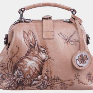 Модная бежевая сумка с росписью ATS-1197