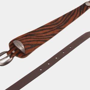 Кожаный коричневый женский модельный ремень ATS-1252 216930