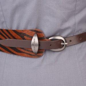 Кожаный коричневый женский модельный ремень ATS-1252 216931