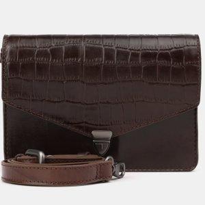 Кожаная коричневая женская сумка на пояс ATS-3882