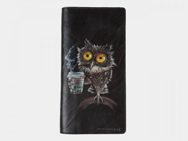 Деловой черный портмоне с росписью ATS-1311