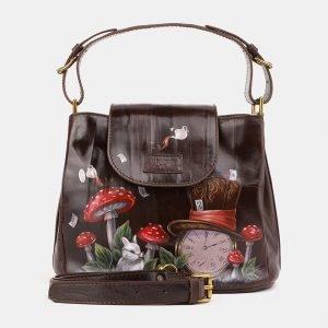 Вместительная коричневая сумка с росписью ATS-3901