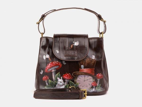 Деловая коричневая сумка с росписью ATS-3901