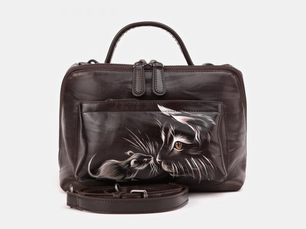 Неповторимая коричневая сумка с росписью ATS-3909