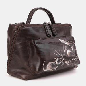 Уникальная коричневая сумка с росписью ATS-3909