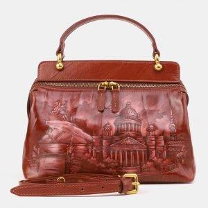 Деловая светло-коричневая сумка с росписью ATS-3906