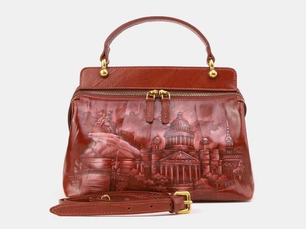 Функциональная светло-коричневая сумка с росписью ATS-3906