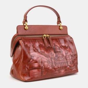 Функциональная светло-коричневая сумка с росписью ATS-3906 210614