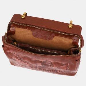Функциональная светло-коричневая сумка с росписью ATS-3906 210616