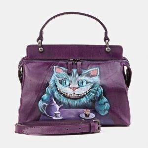 Удобная фиолетовая сумка с росписью ATS-3907