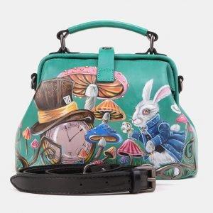 Солидная зеленая сумка с росписью ATS-3908