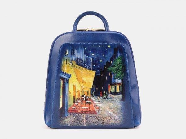 Модный голубовато-синий рюкзак с росписью ATS-3897