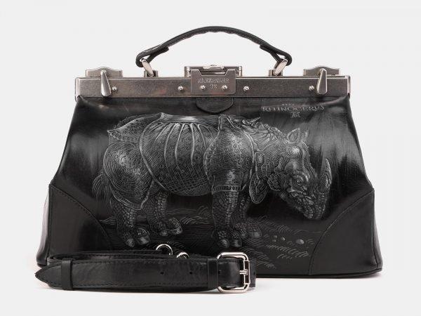 Стильный черный саквояж с росписью ATS-3900