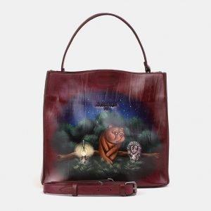 Модная бордовая сумка с росписью ATS-3903