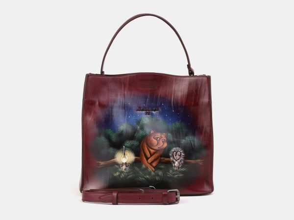 Удобная бордовая сумка с росписью ATS-3903