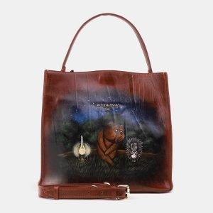 Неповторимая светло-коричневая сумка с росписью ATS-3902