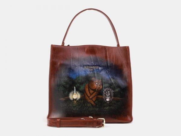 Стильная светло-коричневая сумка с росписью ATS-3902
