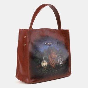 Стильная светло-коричневая сумка с росписью ATS-3902 210634
