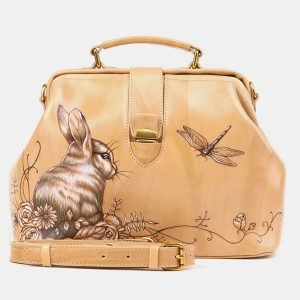 Стильная бежевая сумка с росписью ATS-3905