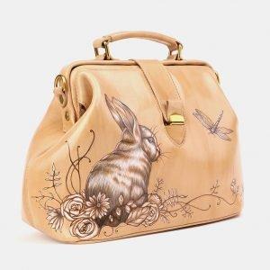 Модная бежевая сумка с росписью ATS-3905 210619