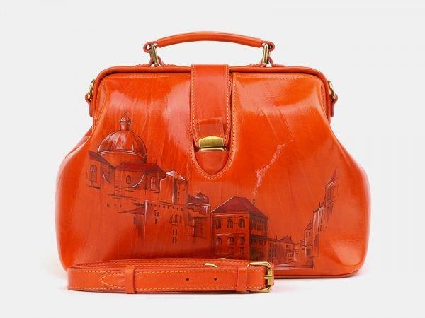Вместительная оранжевая сумка с росписью ATS-3904
