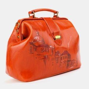 Вместительная оранжевая сумка с росписью ATS-3904 210624