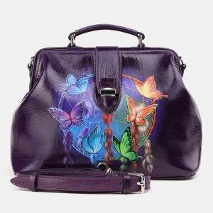 Вместительная фиолетовая сумка с росписью ATS-3910