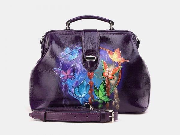Солидная фиолетовая сумка с росписью ATS-3910