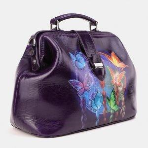 Солидная фиолетовая сумка с росписью ATS-3910 210594