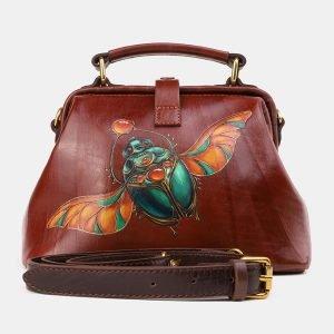 Модная светло-коричневая сумка с росписью ATS-3922