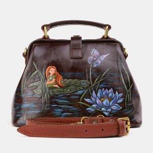 Функциональная коричневая сумка с росписью ATS-3921