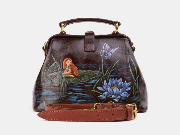 Солидная коричневая сумка с росписью ATS-3921