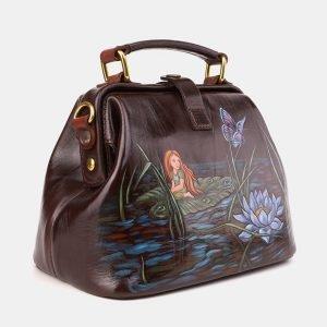 Солидная коричневая сумка с росписью ATS-3921 210543
