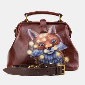 Солидная светло-коричневая сумка с росписью ATS-3920