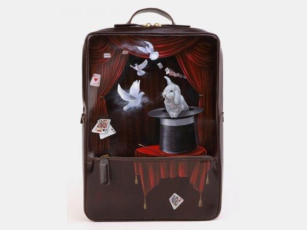 Модный коричневый рюкзак с росписью ATS-3919